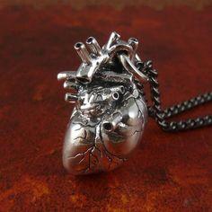 * Anatomical Human Heart Pendant Necklace