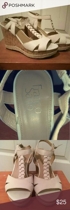 Beige wedges Worn twice  beige wedges size 7 Franco Sarto Shoes Wedges