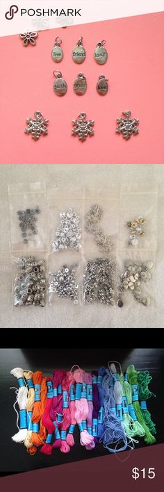 Jewelry Kit Comes with thread, bracelet charms, stretchy bracelet cord, and earring bases. Most of this has been used so there aren't set amount of pieces • make me an offer. Forever 21 Jewelry Bracelets