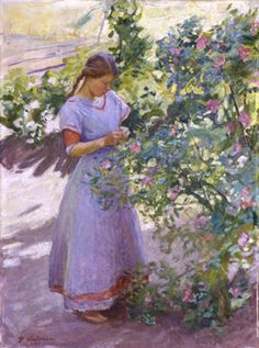 Girl and Rose Bush 1911 - Pekka Halonen - (Finnish: Helene Schjerfbeck, Russian Painting, Figure Painting, Renoir, Monet, Scandinavian Art, Post Impressionism, Impressionist Paintings, Thing 1