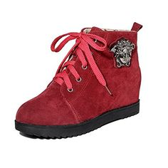 VogueZone009 Womens Lowtop Laceup Frosted KittenHeels Round Closed Toe Boots Red 36 * See this great product.