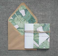 Banana Leaf print wedding invitation set by MissKLFdesign on Etsy