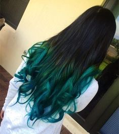Black to sea green ombre hair color, wonderful turquoise mermaid hairstyle for black long hair girls, teal blue hair dye