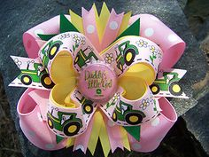 John Deere Hairbow is 5 x 4 Made with Yellow ~ Green ~ Pink & White Polka Dot ~ Pink Yellow & Green Tractor Grosgrain Ribbons. Pink Daddy's Little Bottlecap Center. Baby Girl Hair Bows, Diy Hair Bows, Girls Bows, Baby Bows, Baby Headbands, Little Cowgirl, Daddys Little Girls, Little Girl Hairstyles, Diy Hairstyles
