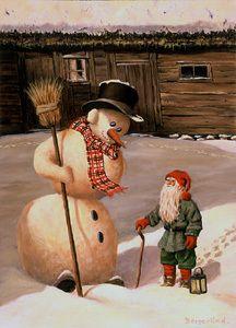 BERGERLIND GNOME + FROSTY SNOW MAN Sweden Tomte Nisse Santa Elf Card 356