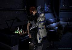 Liara visits Shepard in her cabin by FraeuleinWunderlich.deviantart.com on @deviantART