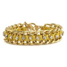 Yellow Woven Chain and Rhinestone Bracelet