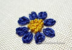 """Needle 'n Thread:  Video Tutorial  """"Oyster Stitch"""" - a petal shaped embroidery stitch made up of a combination of Twisted Chain stitch and Chain stitch."""