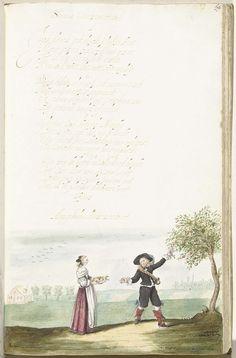 Gesina ter Borch | Fruit plukkende soldaat en een jongedame, Gesina ter Borch, c. 1654 | Fruit plukkende soldaat en een jongedame naast een moralizerend gedicht over vrouwelijke bescheidenheid en gereserveerdheid verpakt in de vorm van een fruitmetafoor. Onderaan heeft Gesina een aforisme toegevoegd.