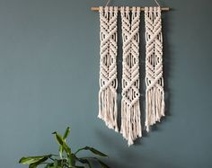 Macrame Wall Hanging Little Diamond Trio by ButtermilkDesignCo