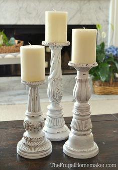 $2.00 yard sale candlesticks makeover