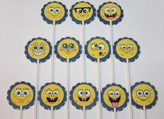 Check out this item in my Etsy shop https://www.etsy.com/listing/227380092/spongebob-squarepants-cupcake-toppers-12