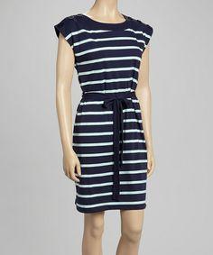 Love this Navy & Aqua Stripe Boatneck Dress by Allison Brittney on #zulily! #zulilyfinds