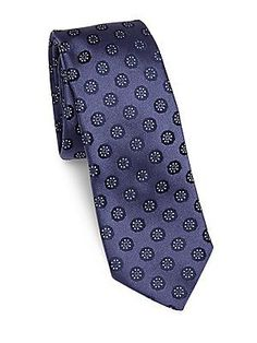 Pal Zileri Floral Printed Silk Tie - Navy - Size No Size