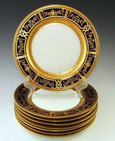 Set of Rosenthal Raised Gold Encrusted Cobalt Blue Porcelain Plates