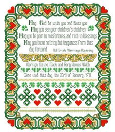 "LOVE THE WORDS; NOT THE BORDER OR THE COLORS.  ""mAY gOD gO WITH YOU."" Irish Wedding Sampler Cross Stitch Pattern"