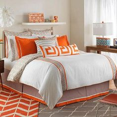 Awaken your bedroom with the unique and vibrant Jill Rosenwald Jill's Key Duvet Cover. Accented with 2 tangerine and taupe Greek key bands, the plush bedding brings fresh colors and a Mediterranean-inspired style to your bed.