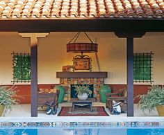 The pool and cabana of actress Diane Keaton's circa 1927 Spanish Colonial Revival house in Bel-Air.