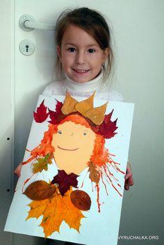 """ВЫРУЧАЛКА: Аппликация """"Царевна-Осень"""" Fall Arts And Crafts, Autumn Crafts, Fall Crafts For Kids, Autumn Art, Nature Crafts, Art For Kids, Autumn Activities, Art Activities, Leaf Crafts"""