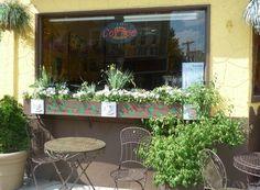 Wellington-Harrington - Outside Bom Cafe near Inman Square, Cambridge, MA Cafe Shop, Cafe Bar, Cafe Restaurant, Restaurant Design, Pop Up Cafe, Pink Cafe, Sidewalk Cafe, Cute Cafe, Cafe Style