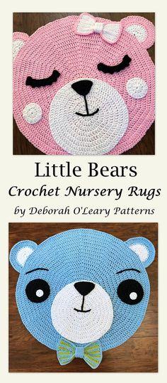 Crochet Rug Patterns - Crochet Bear Rug - Nursery Rug by Deborah O'Leary Patterns