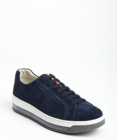 Prada navy suede logo imprinted tongue lace up sneakers