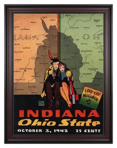 1942 Ohio State Buckeyes vs Indiana Hoosiers 30 x 40 Framed Canvas Historic Football Print