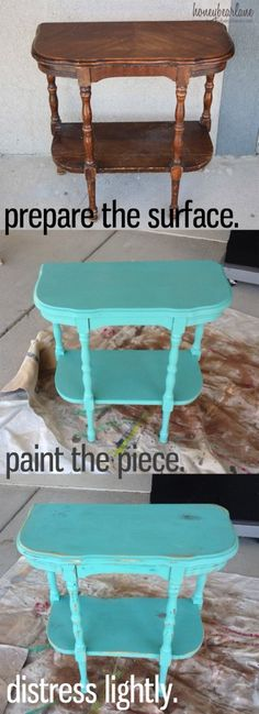 5 Tips for Painting Furniture – Honeybear Lane - Zimmereinrichtung Teal Painted Furniture, Pipe Furniture, Cheap Furniture, Beach Furniture, Furniture Market, Refurbished Furniture, Baby Furniture Sets, Furniture Direct, Outside Furniture