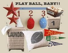 vintage sports theme... using my husbands old childhood pennants in my sons room <3