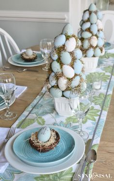 Turquoise and Lime Easter Decorations