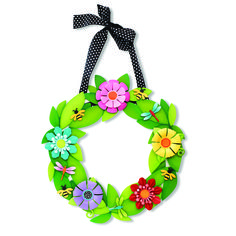 Create custom Wreath Wall Art for all occasions. Change out colorful magnets for unique year round displays. Bee and Dimensional Daisy Magnets from Embellish Your Story by Roeda.