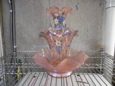 """Epergne stands about 13"""" tall. Hand painted by Marilyn Wagner / Signed 4 times. 