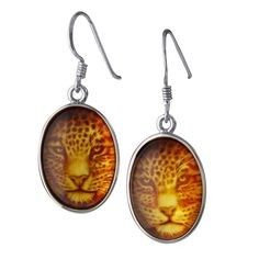 Gorgeous jaguar earrings! Genuine amber. Sterling Silver. Excellent detail. Perfect for anyone who loves jaguars, lions, tigers, cougars, or anything in the big cat family.