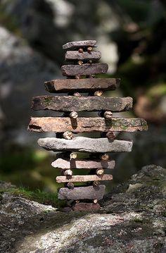 Stone Stick Stack, land art.