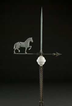 Zinc Trotting Horse Weathervane on Lightning Rod, - Cowan's Auctions