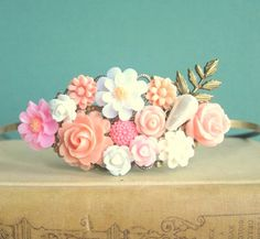 JEWELSALEM AUGUST SALE -- Pink Wedding Headband Hairband Bridal Fascinator Coral Peach Blush Pastel Color White Grecian Flower Floral Shabby Chic Autumn Vintage Style
