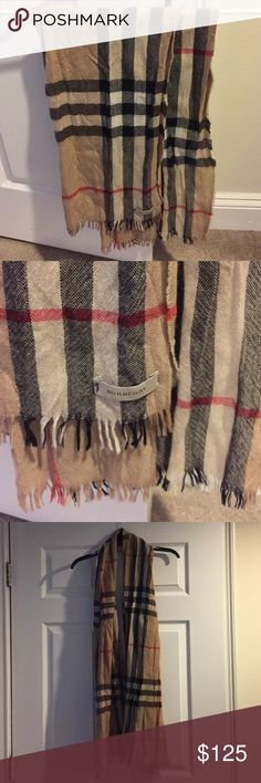 "Burberry authentic classic check wool scarf Burberry classic check scarf, wool, 34"" hanging from neck straight down Burberry Accessories Scarves & Wraps"
