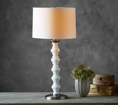 Stacked Stone Spindle Table Lamp Base | Pottery Barn