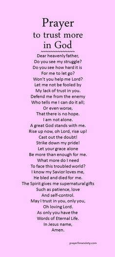 Prayer to trust more in God