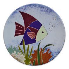Prato decorativo com imagem de peixes | Ateliê LukaBrasil
