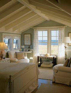 Love the tall ceiling and quaint decor.