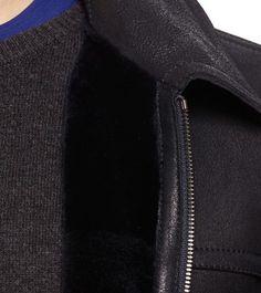 ZEGNA SPORT:Manteau cuirNubuck Col Classique Uni Deux poches MaBleu41476613WW