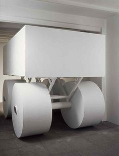 Half Ton, 1988 Alluminio, acciaio, acrilico bianco 220 × 200 × 300 cm Installazione, Studio Marconi 17, Milano Milano, Photo Studio, Toilet Paper, Photography Studios, Toilet Paper Roll