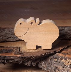 Wooden Handmade Hippo Toy | DIOTOYS