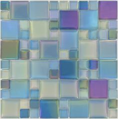 Ocean Squares Green Glossy & Iridescent Glass Tiles