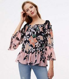 62007f03f0cfa2 Cold Shoulder Floral Print Top Rose Design