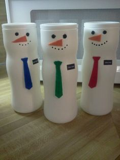 LDS Missionary snowmen - Puffs baby snack containers (All brands seem to be the same shape), felt and sharpie decorations, printed nametags, all attached with glue stick. Christmas treats inside. Use a scarf instead of a tie, and it would work for neighbor or teacher gifts. (I think a hat to round out the head would be a nice addition, too.)