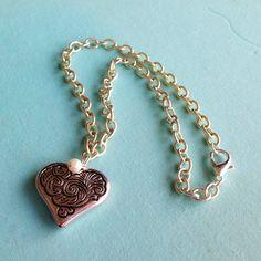 Silver Heart Necklace Valentine Jewelry Chain by jewelrybycarmal, $16.00