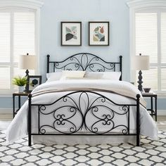 Crosley Furniture Evelyn King Size Metal Headboard & Footboard, Black, As Shown King Headboard, Panel Headboard, Headboard And Footboard, Space Furniture, Online Furniture, Home Furniture, Iron Furniture, Painted Furniture, Bedroom Inspo
