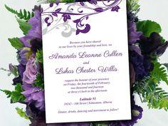 "Modern Wedding Invitation Template - DIY Invitation Eggplant Silver ""Whimsical Vines"" - DIY Wedding Template - Invitation Wedding Printable by PaintTheDayDesigns on Etsy"
